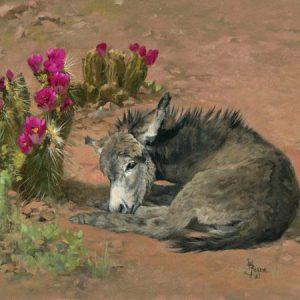original oil painting by Linda Budge - A bit of shade - burro