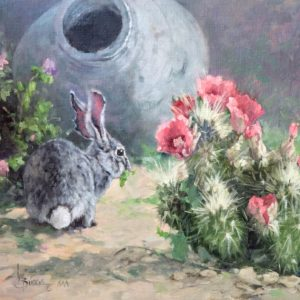 original oil painting by Linda Budge - BUNNY BROWSE